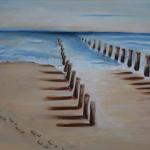 voetstappen eenzaam strand